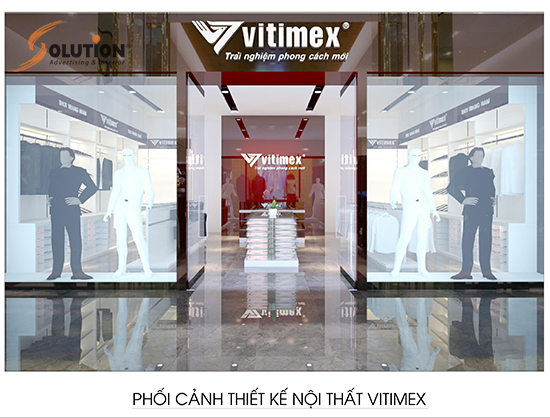 Thiết kế nội thất showroom thời trang nam Vitimex