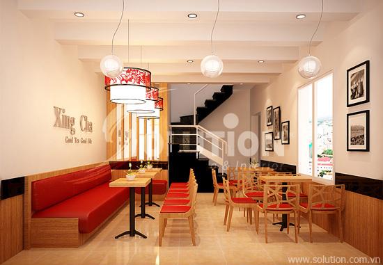 Thiết kế nội thất quán trà sữa thương hiệu Xing Cha