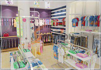 Thiết kế nội thất gian hàng quần áo trẻ em Kico