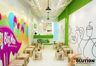 Thiết kế thi công nội thất quán kem Newzealand Nguyễn Trãi