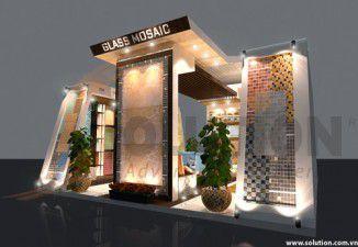 Thiết kế nội thất gian hàng Mosaic - Gỗ ngoài trời