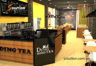Thiết kế và thi công nội thất quán trà sữa Ding tea