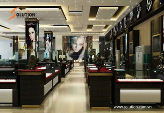 Thiết kế nội thất showroom trưng bày sản phẩm vàng Đại Cồ Việt