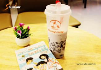 Thiết kế bao bì, cốc trà sữa Huang Cung