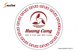 Thiết kế tem, nhãn dán trên ly trà sữa Huang Cung