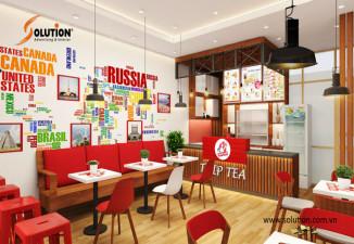 Thiết kế nội thất cửa hàng fast food kết hợp quán trà sữa TRIP TEA
