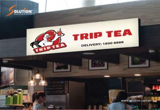 Thiết kế biển quảng cáo quán đồ ăn nhanh fast food Trip Tea
