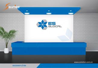 Thiết kế backdrop quầy lễ tân, backdrop phòng họp công ty Kiểm toán ES GLOCAL