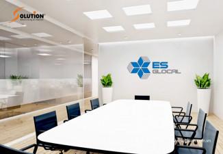 Thiết kế backdrop quầy lễ tân, phòng họp công ty Kiểm toán ES GLOCAL