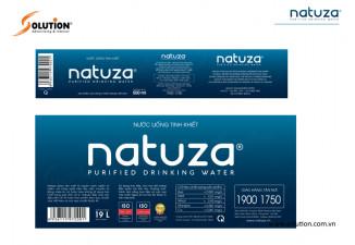 Thiết kế tem nhãn chai nước suối tinh khiết NATUZA