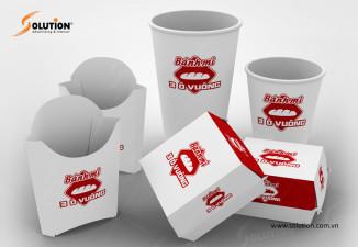 Thiết kế bao bì túi giấy, hộp giấy đựng bánh mì 3 ô vuông