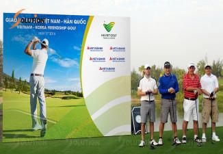 Thiết kế backdrop sự kiện ngoài trời Hà Việt Golf