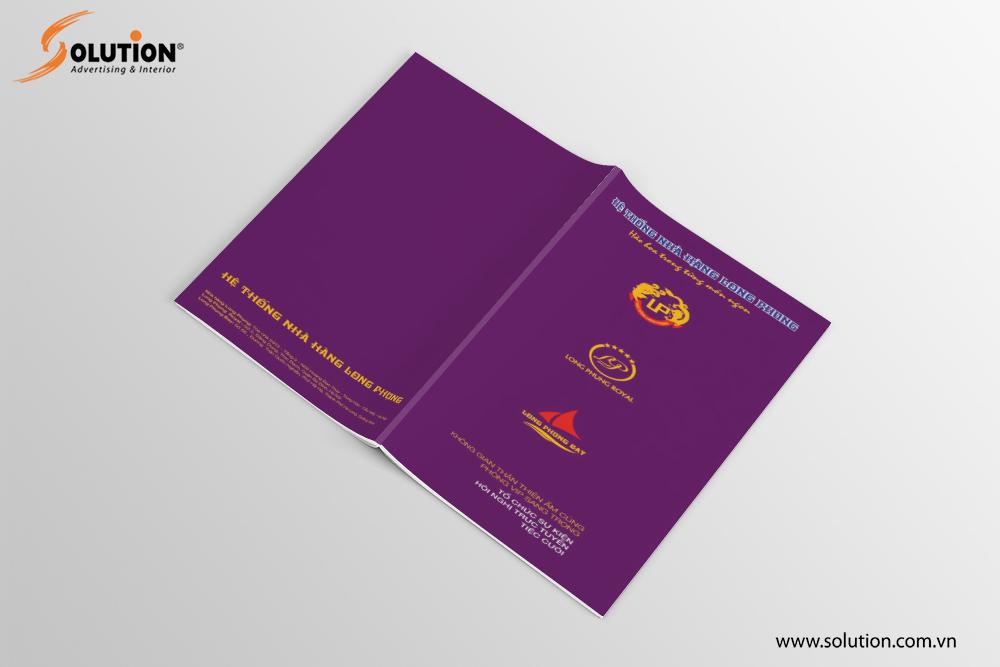 Mẫu Brochure trong thiết kế bộ nhận diện thương hiệu Nhà hàng Long Phụng
