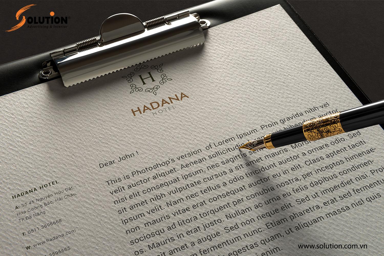 Mẫu tiêu đề thư trong thiết kế bộ nhận diện thương hiệu Khách sạn Hadana