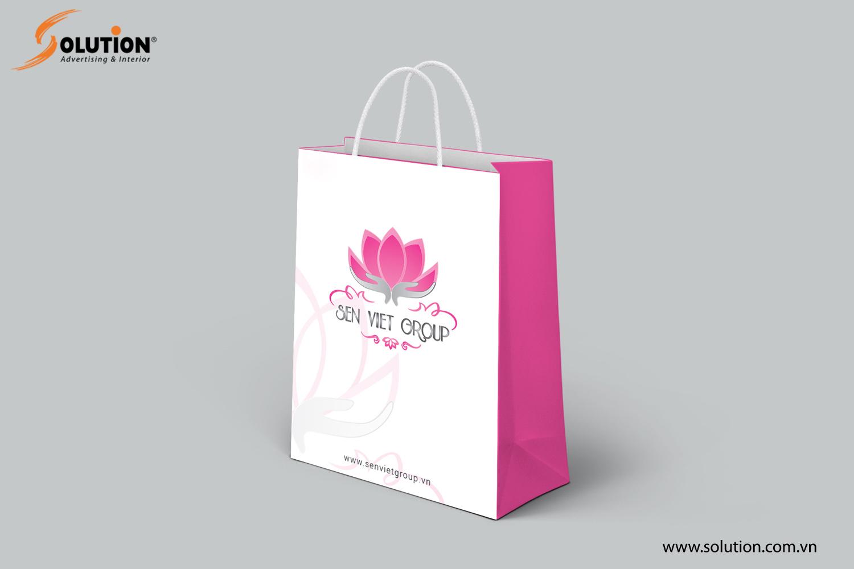 Mẫu thiết kế giấy túi đựng đồ trong bộ nhận diện thương hiệu Công ty Sen Việt Group