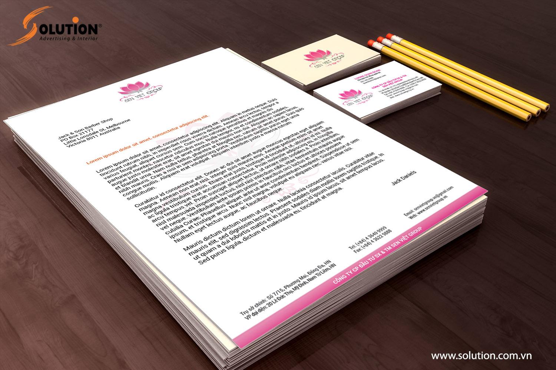 Mẫu thiết kế tiêu đề thư trong bộ nhận diện thương hiệu Công ty Sen Việt Group