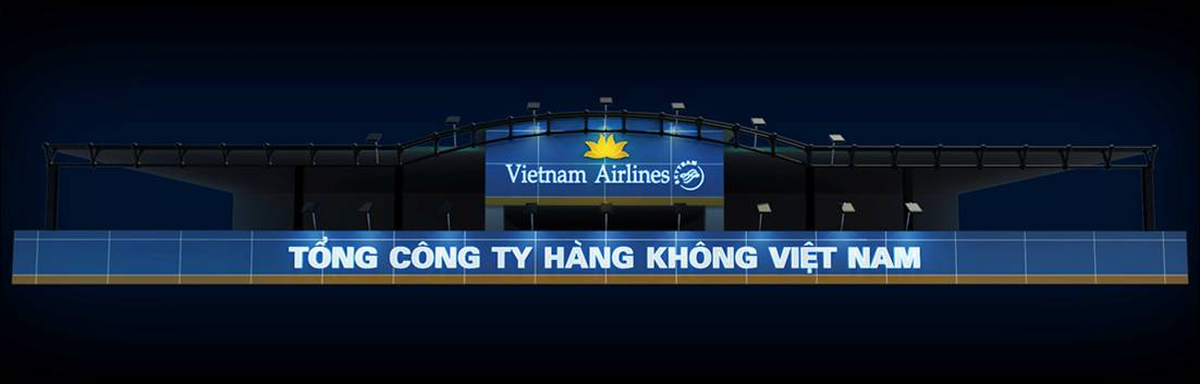 Hình ảnh 3D biển quảng cáo Vietnam Airlines với nền xanh truyền thống