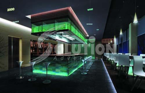 Mẫu thiết kế nội thất quán Bar, Coffe với quầy bán hàng là trung tâm
