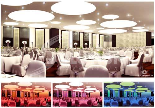 Sử dụng ánh sáng của đèn trần thay đổi màu sắc cho quán Bar