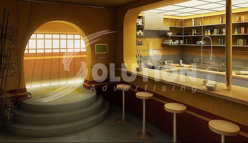 Mẫu thiết kế quầy Bar với chất liệu thiết kế từ gỗ và tre