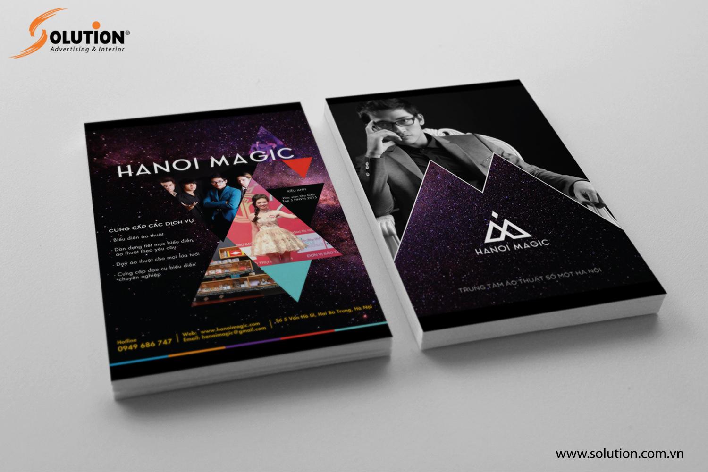 Mẫu thiết kế tờ rơi quảng cáo trong bộ nhận diện thương hiệu Hanoi Magic