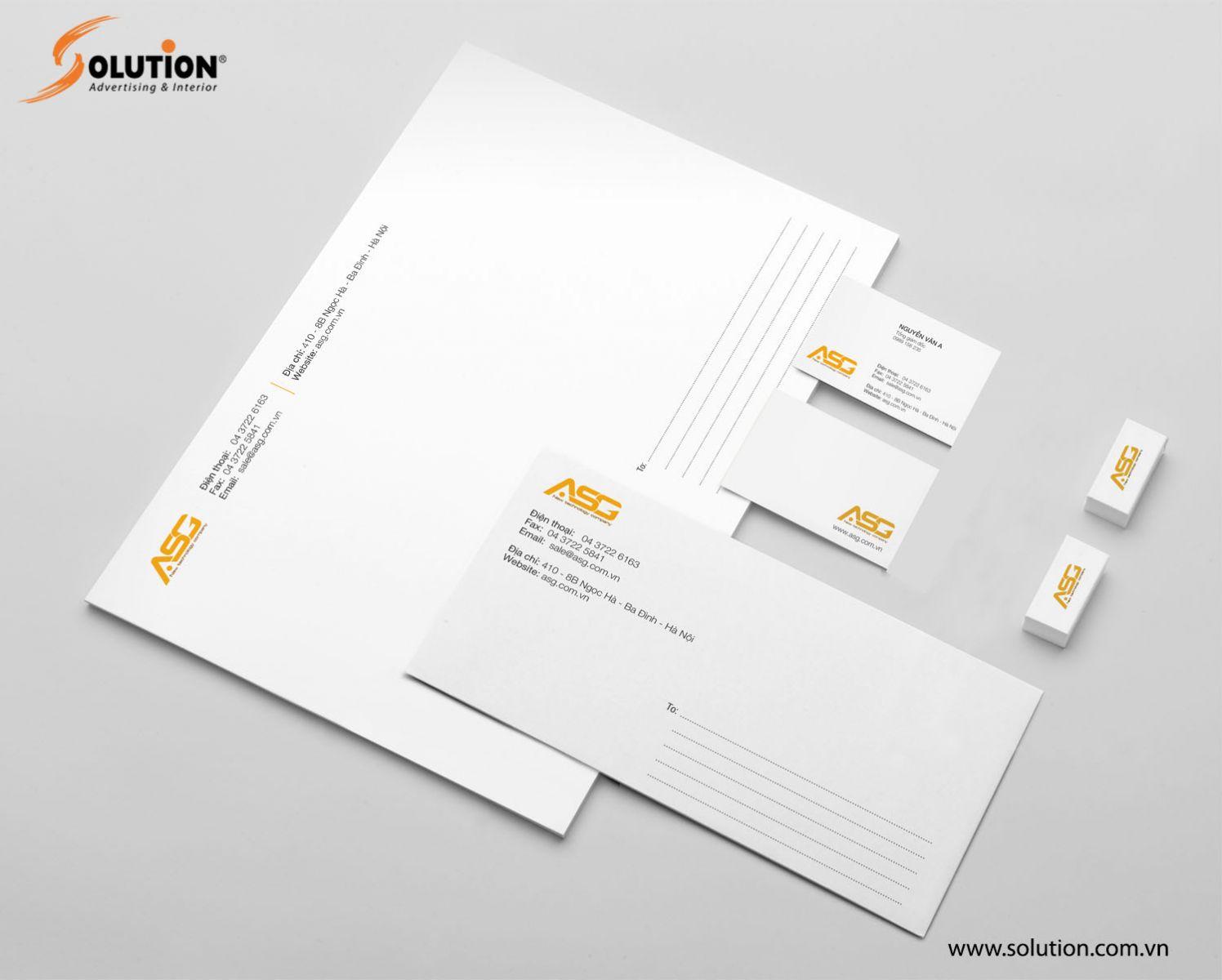 Mẫu tiêu đề thư - namecard - phong bì thư trong hệ thống nhận diện thương hiệu Công ty ASG