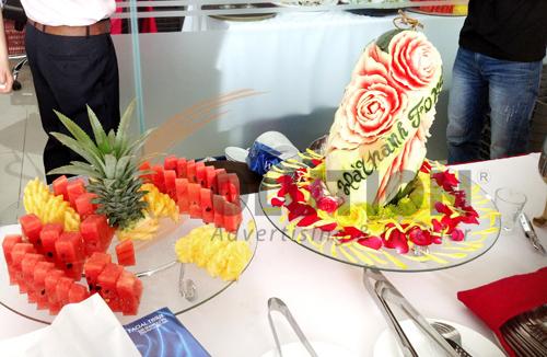 Tổ chức sự kiện lễ khai trương đại lý Hà Thành Ford, Tiệc buffet được trang trí nổi bật với logo Hà Thành Ford